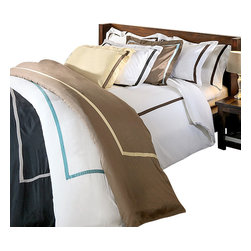 Bed Linens - Hotel Collections 300 Thread Count Cotton Duvet Cover Set Twin White/Chocolate - 300 Thread Count Solid Duvet Cover SetsHotel Collection