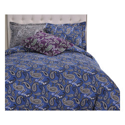 Bedding Web Store - Solid or Paisley-Flannel Duvet Cover Set, Paisley Grey, Full/Queen - This Duvet set is available in either solid flannel or paisley print.  This duvet cover is made with 100% cotton.  They will keep you comfortably warm on the coldest night.  It is available Twin, Full/Queen, King/California King. Each set includes a duvet cover and two matching pillow shams (one with Twin set).  The color options are Purple Paisley, Grey Paisley, Navy Paisley, White Solid, Navy Solid, Purple Solid, Grey Solid, Ivory Solid.