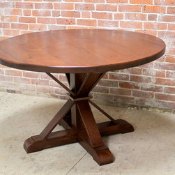 Small Round Table with X Pedestal Base -