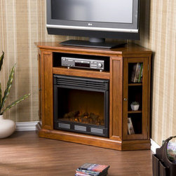"""Wildon Home � - Stuart 48"""" TV Stand with Electric Fireplace - Features: -Two adjustable shelves can move 2'' up or down.-One triangular media storage shelves on either side.-One additional media equipment shelf with wall cord access.-One adjustable shelf in each cabinet.-Wood is distressed with small wormholes and imperfections.-Allows versatile placement against a flat wall or corner with a collapsible panel.-Realistic flickering flame effect.-Long life LED lights.-Consumes no wood or fossil fuels.-Adjustable flame brightness control.-Produces zero emissions or pollutants.-Plugs into standard wall outlet.-100% energy efficient with low operating costs.-Comes with easy to use adjustable thermostat and remote control (2 AAA batteries required).-ISTA 3A certified.-Eco-friendly.-Accommodates up to a 50'' flat screen TV.-Mantel supports up to 85lbs.-Perfect media room accent.-Distressed: No.-Collection: Stuart.Specifications: -Tested to heat 1500 cubic feet in only 24 minutes.-120V-60Hz, 1500W / 5000 BTUs, 12.5 Amp.Dimensions: -Firebox front dimensions: 20'' H x 23'' W.-Triangular Media Storage Shelf dimensions:- 8'' H x 8'' W x 7.5'' D.-Media Equipment Storage Shelf dimensions: 5'' H x 23'' W x 13'' D.-Overall Product Weight: 129 lbs.Warranty: -Manufacturer provides one year warranty on parts."""