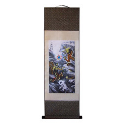 Oriental-Decor - Dueling Dragons Chinese Print Scroll - Two fierce Chinese dragons battle in a raging sea for the elusive and often sought after pearl of wisdom. The pearl in this scene is blue, denoting wisdom and enlightenment. Dragons are highly revered creatures in Chinese culture and often the subject of paintings and art work. This fantastic scene will make for splendid decoration in the Asian style on any wall.