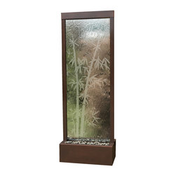 Bluworld - 7.5' Dark Copper Bamboo Gardenfall Floor Water Fountain - Skip the spa, steep a cup of tea and settle in near this tranquil water feature. Relax into the sounds of water descending down the etched glass and gently pooling among the river rocks below.