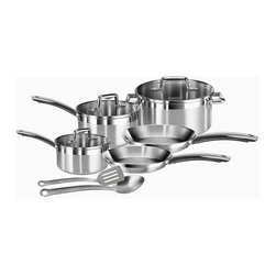 T-fal - Elegance 10-Pc Cookware Set - Includes 8 in. and 10.25 in. fry pans, 1, 2 Qt. covered sauce pans, 5 Qt. covered Dutch oven and two tools. Multi-layer base encapsulates a thick gauge aluminum core with copper disc. Delivers optimal heat distribution and prevent warping. Interior measuring marks. Brushed and polished exterior. Suitable for induction cook tops. Glass lids. Soft touch handles. Dishwasher safe. Oven safe up to 500 degrees F. Made from steelT-Fal Performance cookware's contemporary design will look like new even after many years of cooking. Interior measuring marks deliver added convenience and ease of use.
