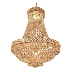 "The Gallery - French Empire Crystal Chandelier Chandeliers Lighting H26"" X W23"" - 100% CRYSTAL CHANDELIER, this chandelier is characteristic of the grand chandeliers which decorated the finest Chateaux and Palaces across Europe and reflects a time of class and elegance which is sure to lend a special atmosphere in every home. This item comes with 18 inches of chain.Assembly Required SIZE: W.23 X H.26"" 9 LIGHTS. Lightbulbs not included"