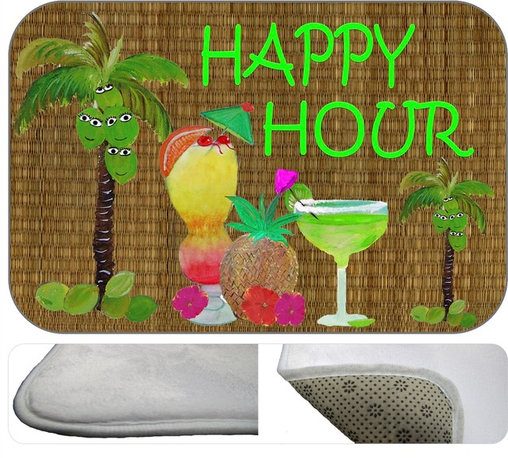 Happy Hour Plush Bath Mat, 30X20 - Bath mats from my original art and designs. Super soft plush fabric with a non skid backing. Eco friendly water base dyes that will not fade or alter the texture of the fabric. Washable 100 % polyester and mold resistant. Great for the bath room or anywhere in the home. At 1/2 inch thick our mats are softer and more plush than the typical comfort mats.Your toes will love you.