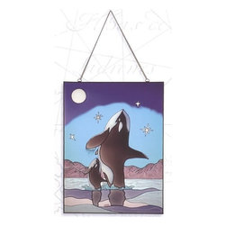 """Killer Whales Stained Glass - The killer whales stained glass measures 24"""" x 18"""". This item features a large and small killer whale playing in the water on a star lit, full moon night. It will add a definite nautical touch to wherever it is placed and is a must have for those who appreciate high quality nautical decor. It makes a great gift, impressive decoration and will be admired by all those who love the sea."""