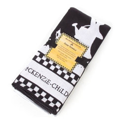 Mrs. Powers Dish Towel Set - Black & White | MacKenzie-Childs - A practical kitchen must-have all year long. Mrs. Powers is followed by a parade of farm friends in her garden, as her hat gets caught in a lakeside breeze. (Hang on, Mrs. P!). Set of two.
