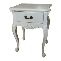 Lansky Studio - Roxy French Painted Nightstand Table - A beautiful nightstand in the french Louis XV style.  Comes with one drawer for storage and pretty hardware. The table sits on four french legs.