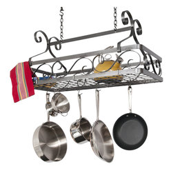 "Enclume - Decor Large Basket Pot Rack Hammered Steel - Dimensions: 33"" W x 15"" D x 23"" H"