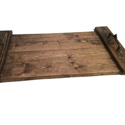"""Hilda's Furnishing - Rustic Decorator Tray, Reclaimed Or Pallet Wood, Handmade 15 x 24in. - These trays are handmade from wood that is used or generally unsuitable for common use. Each one is different as the wood takes the stain differently. The tray is finished with three coated of polyurethane. Large head nails are used in assembly to give the tray a more homemade country rustic appearance. This custom tray is fitted with classic ecorator handles. Note these trays are made from various woods, mostly soft woods. As such there is some expansion and contraction of the materials based on humidity and other factors. Felt feet are applied to prevent scratching of any surface the tray may sit on. Finished size is approximately 15"""" x 24"""" x 4"""""""