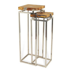 Interlude - Adisa Pedestals - Teak and cracked resin tops contrasts beautifully with the stainless bases on this set of two pedestals.