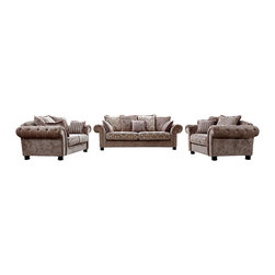 VIG Furniture - Marseilles Beige Microfiber Fabric Three Piece Sofa Set With Floral Pattern - The Marseilles sofa set will add a unique and stylish modern design to your living room decor. This sofa set comes upholstered in a beautiful brown microfiber fabric. High density foam is placed within each piece for added comfort. The sofa set features a beautiful tufted design within the seating area that adds a Victorian era look. The seat cushions has a unique floral design which really makes this set stand out among all the rest. The sofa set includes a sofa, loveseat, and chair only.