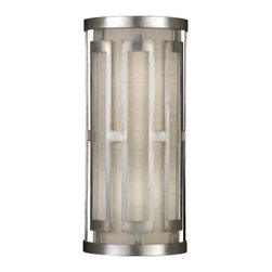 Fine Art Lamps - Allegretto No. 817150 Wall Sconce by Fine Art Lamps - A front and center presentation of bold linear verticality dimensionally enhances the already elongated silhouette of the Fine Art Lamps Allegretto No. 817150 Wall Sconce. A rectangular filigreed frame is laid over a richly elegant textured linen shade that warmly diffuses the light, resulting in a Deco-informed lamp that would be welcome in traditional, transitional or soft contemporary spaces. Fine Art Lamps, an award-winning lighting company headquartered in Miami, Florida, offers superb-quality lighting fixtures that are designed and manufactured in the USA using time-honored craftsman techniques.