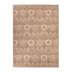 Jaipur Rugs - Hand-Knotted Oriental Pattern Wool Gray/Ivory Area Rug ( 9x12 ) - Originally a construction style developed in the Caucasian region, the Sumak rug is an organic, hand-knotted, flat-woven rug that India has made its own over the centuries. Traditional designs predominate this award-winning collection, but the Jaimak Collection combines the benefits of contemporary color and durable wool for rug styling that adds sophistication to any environment. Through its unique herringbone effect and distinctive double-sided pattern, Jaimak creates a luxurious look and feel far exceeding its economical price point.