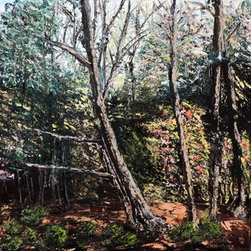 """""""Pipestem"""" (Original) By Howard Hackney - Oil Painting Of Photo Taken At Pipestem State Park In West Virginia,  Artist Took The Photo And Painted Entirely With A Knife.  Beautiful Fall Colors, Just Before Winter Of 2013."""