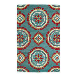 Kaleen - Kaleen Global Inspirations Collection GLB09-91 8' x 10' Teal - The Global Inspirations collection brings you beautiful motifs influenced by d_cor from all over the world. You no longer need to wander the streets of Europe or Asia looking for that hidden gem, our Global Inspirations collection found it for you!  Each rug is hand-tufted in India from 100% of the very finest wool, to achieve today's hottest worldly designs and patterns.
