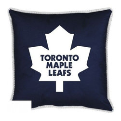 Sports Coverage - Toronto Maple Leafs Toss Pillow - Sidelines Design - Coordinating Toronto Maple Leafs Toss pillow to match jersey material logo Toronto Maple Leafs comforter. Each pillow is made from 100% polyester jersey material (just like the athlete's wear). Pillow features large team logo of Toronto Maple Leafs in the center of the pillow, as well as a strip of mesh trim around it. Available in 18 x 18 only.
