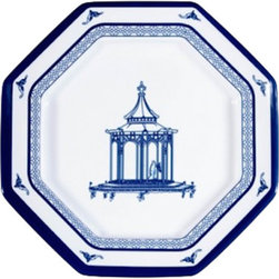 "The Enchanted Home - Chinoiserie Melamine salad octagonal dinner plate - Fabulous dishwasher safe melamine salad plate. Doesn't get better, prettier or more stylish than this! Gorgeous chinoiserie blue and white melamine dishwasher safe octagonal plate features beautiful pagoda. Just spectacular! Measures 8"". Has coordinating dinner plate, bowl and large serving plate/bowl."