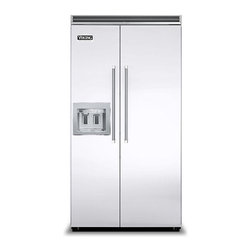 """Viking 42"""" Built-in Side By Side Refrigerator With Dispenser White 