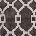 Jaipur Rugs - Hand-Tufted Geometric Pattern Wool/ Art Silk Gray/Ivory Area Rug ( 2.6x10 ) - Over scaled sharp geometrics characterize this striking contemporary range of  hand tufted rugs. The high/low construction in wool and art silk creates texture and surface interest and gives a look of matt and shine.