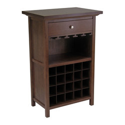 Winsome - Wine Cabinet with Drawer and Glass Rack - With room for 20 bottles, wine glasses, and a drawer for accessories, the Regalia Wine Cabinet holds everything necessary for preparing and enjoying a glass of wine.