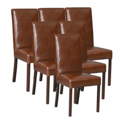 EuroLux Home - Set 6 New Leather Dining Chairs Brown/Tan - Product Details
