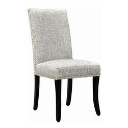Armen Living - Accent Nail Side Chair in Ash Fabric - Set of 2 - Highlighted by shimmering nailheads, let the sumptuous fabric of this contemporary dining chair envelope you in comfort with stylish ease.