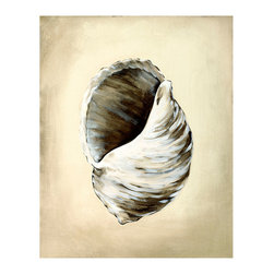 Seashells III Unframed Giclee with Crackle Finish - The composition of Seashells III draws your eye into the shaded center of an opening shell, lending a meditative tone to a neutral giclee canvas that serves as an easy-to-match illustration of your taste.  Distinctive but with a universally appealing choice of subject, this art print is a beautiful display of artistic technique and a stately option for the wall of your traditional home.