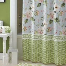 Croscill - Croscill Paradise 72-Inch x 72-Inch Shower Curtain - A blue, green and pink floral, bordered by a green and white basketweave pattern, give this shower curtain a relaxed sophistication.