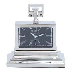 Woodland Imports - Nickel Plated Table Clock Three Tiered Roman Numerals Office Decor 27851 - Nickel plated rectangular table clock with three tiered base and roman numerals home office accent decor