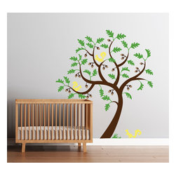 Cherry Walls - Old Oak Tree Decal - Listen closely. Can you hear the rustle of oak leaves and the gentle chatter of squirrels? This majestic oak tree decal, complete with three inquisitive squirrels, brings the forest ambience home. Create a stunning impression in the nursery or bedroom and relax into the peaceful feeling you can only get in a tranquil oak grove.