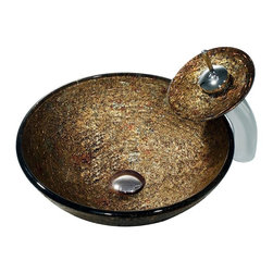 Vigo Industries - Round Vessel Sink w Waterfall Faucet - Includes matching glass disc, pop-up drain and mounting ring. Sink with polished glass interior with textured exterior. Scratch and stain resistant. Non-porous surface to prevent discoloration and fading. Easy-to-clean surface. Above counter installation. 1.75 in. hole opening required for counter top. Solid tempered glass construction. 0.5 in. glass thickness. Faucet with matching glass disc. High-quality ceramic disc cartridge ensures maintenance-free use. Water pressure tested for industry standard. 2.2 GPM flow rate. Standard US plumbing connections. 1.38 in. Dia. standard opening required. Certified by cUPC, ANSI and ADA compliant. Limited lifetime warranty. Chrome and textured copper color. Sink: 16.5 in. Dia. x 6 in. H. Faucet: 7.18 in. Dia. x 11.75 in. H. Assembly InstructionsThis glamorous vessel sink is coupled with a matching waterfall faucet that combines stem with a shimmering glass disk.