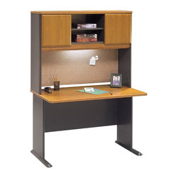 "Bush - Bush Series A 48"" Wood Computer Desk with Hutch in Natural Cherry - Bush - Office Sets - WC57448PKG1 - Bush Series A 48"" Hutch in Natural Cherry (included quantity: 1)  The generous Bush Series A Collection 48"" Hutch sits atop the Bush 48"" Desk (sold separately), turning an efficient workspace into a private haven. This towering hutch gives you both improved storage capacity and peace of mind as you work.  Features:"