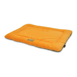 P.L.A.Y. - P.L.A.Y. Chill Pad Pumpkin X Small - The P.L.A.Y. chill pad is a light and an extremely long lasting pad for your dog to sleep and rest on. The pad can be conveniently thrown at any spot in your home and being filled with an eco-friendly fiber, the pad is very safe for the environment, not to mention your dog. This chill pad is made keeping in mind the highest quality standards and it can be machine washed whenever needed.  Designed to fit most standard pet crates. Tough, durable construction ensures dog-years of use. Filled with the perfect amount and density of high-loft PlanetFill filler.  filler is made from 100% post-consumer certified-safe recycled plastic bottles. 4 edges ensure optimum elevated comfort for your pooch to rest its head on. Machine washable and dryer friendly. Made in a facility that meets the strict quality standards for infant and children products. Momo-approved and tested by her four-legged friends.