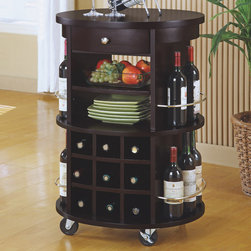 Monarch - Round Bar Serving Cart in Cappuccino with Wine Storage - This transitional style solid wood and veneer bar serving cart has a deep cappuccino finish, with an abundance of storage space for your wine. It has a nine bottle wine rack, in addition to space on each side, while two shelves and one drawer can be used for plates, bottle openers and other wine accessories. With its four heavy duty casters for easy mobility, this piece can fit into any home with its modest detailing and simple silver metal knob and accents. Save space in your home with this curved unit and utilize that wasted space you never know how to fill.