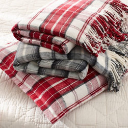 Plaid Fringed Blanket, Red - I love a classic plaid. These are perfect to cozy up with on a chilly night.