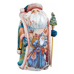 """Land of Sweets Santa Claus Artistic Wood Carved Sculpture - Measures 12""""H x 5.25""""L x 4.75""""W. G. DeBrekht fine art traditional, vintage style sculpted figures are delightful and imaginative. Each figurine is artistically hand-painted with detailed scenes including classic Christmas art, winter wonderlands and the true meaning of Christmas, nativity art. In the spirit of giving G.DeBrekht holiday decor makes beautiful collectible Christmas and holiday gifts to share with loved ones. Every G. DeBrekht holiday decoration is an original work of art sure to be cherished as a family tradition and treasured by future generations. Some items may have slight variations of the decoration on the decor due to the hand painted nature of the product. Decorating your home for Christmas is a special time for families. With G. DeBrekht holiday home decor and decorations you can choose your style and create a true holiday gallery of art for your family to enjoy. All Masterpiece and Signature Masterpiece woodcarvings are individually hand numbered. The old world classic art details on the freehand painted sculptures include animals, nature, winter scenes, Santa Claus, nativity and more inspired by an old Russian art technique using painting mediums of watercolor, acrylic and oil combinations in the G. Debrekht unique painting style. Linden wood, which is light in color is used to carve these masterpieces. The wood varies slightly in color."""