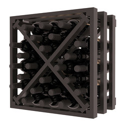 Lattice Stacking X Wine Cube in Pine with Black Stain + Satin Finish - Designed to stack one on top of the other for space-saving wine storage our stacking cubes are ideal for an expanding collection. Use as a stand alone rack in your kitchen or living space or pair with the 16-Bottle Cubicle Wine Rack and/or the Stemware Rack Cube for flexible storage.