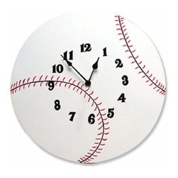 Trend Lab - Wall Clock - Baseball - Complement any room with this stylish Baseball Wall Clock by Trend Lab. The white circular clock features black and red lace detail with black numbers. Mounting hardware is attached to the back for easy hanging. Runs on one AA battery (not included).
