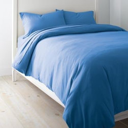 Garnet Hill - Garnet Hill Solid Cotton Jersey Knit Sheets - Double - Flat - Lapis - This cozy combed-cotton jersey-knit bedding is knit of fine yarns for softness, and has a tighter construction than most for a smoother, more substantial feel. Dress your bed with the casual style and comfort of a favorite T-shirt. This higher-quality knit bedding looks great wash after wash, and won't twist on the mattress. A great year-round sheet. Clean double-stitched finish. Fitted sheet is fully elasticized for a better fit. 12-inch pocket depth.