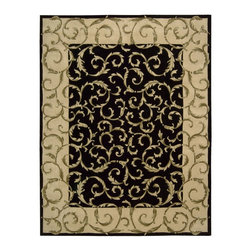 Nourison - Nourison Versailles Palace Black Area Rug - Fit for royalty as the name suggests This collection features stunningly elegant designs inspired by th Century French carpets and handmade with intriguing articulation from the highest quality wool. Features a dense luxurious pile and handcarved for added dimension with delicate accents that are a pleasure to both look at and touch.