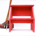 """Step Stools for Kids - This is a hand crafted, new step stool fashioned after a vintage find. Each step stool is unique depending on the age and texture of wood. Artisans hand make and paint each step stool to order. Each one is weathered and rubbed with Linseed Oil after completion to give them a smooth aged look.  Measurements are 15¾ """"L x 8""""W x 6⅞""""H."""
