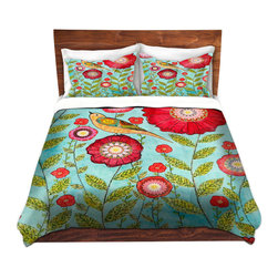 DiaNoche Designs - Duvet Cover Microfiber by Sascalia - Red Flowers - DiaNoche Designs works with artists from around the world to bring unique, artistic products to decorate all aspects of your home.  Super lightweight and extremely soft Premium Microfiber Duvet Cover (only) in sizes Twin, Queen, King.  Shams NOT included.  This duvet is designed to wash upon arrival for maximum softness.   Each duvet starts by looming the fabric and cutting to the size ordered.  The Image is printed and your Duvet Cover is meticulously sewn together with ties in each corner and a hidden zip closure.  All in the USA!!  Poly microfiber top and underside.  Dye Sublimation printing permanently adheres the ink to the material for long life and durability.  Machine Washable cold with light detergent and dry on low.  Product may vary slightly from image.  Shams not included.
