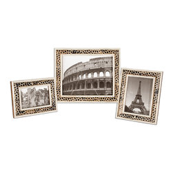Uttermost - Carnelia Modern Photo Frames, Set of 3 - Display your favorite photos, prints or paintings in frames that are works of art in themselves. This trio is crafted from bone and horn — so ideal for any setting in your home that celebrates the natural world.
