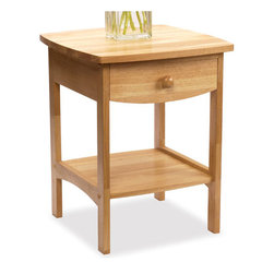 Winsome - Winsome Basics Solid Wood End Table / Nightstand in Natural - Winsome - Nightstands - 82218 - The Winsome basics nightstand projects subtle style with it's gently rounded corners. Its simple design and minimal detail makes it a perfect addition to a variety of decor styles and practicality is part of it's appeal as well with one drawer and a convenient open shelf for bedside storage.