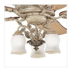 Joshua Marshal - Three Light Antique Marble W/silver Fan Light Kit - Three Light Antique Marble W/silver Fan Light Kit