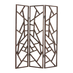 Arteriors - Maddock Room Screen - This three-panel screen resembling a spider web pattern is made of a gray-finished dark walnut wood.  Each of the cross supports has been hand shaped into a six-sided bar, giving it greater dimensionality and uniqueness.  The hinges are also unique in that they are simple iron hooks that slide into a sleeve.  Use to subtly define a space in your room or put in front of a window to create amazing shadows.  Dimensions are per panel.