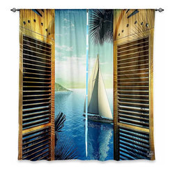 "DiaNoche Designs - Mark Watts Set Sail Lined Window Curtains - DiaNoche Designs works with artists from around the world to print their stunning works to many unique home decor items.  Purchasing window curtains just got easier and better! Create a designer look to any of your living spaces with our decorative and unique ""Lined Window Curtains."" Perfect for the living room, dining room or bedroom, these artistic curtains are an easy and inexpensive way to add color and style when decorating your home.  This is a woven poly material that filters outside light and creates a privacy barrier.  Each package includes two easy-to-hang, 3 inch diameter pole-pocket curtain panels.  The width listed is the total measurement of the two panels.  Curtain rod sold separately. Easy care, machine wash cold, tumble dry low, iron low if needed.  Printed in the USA."