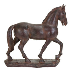Benzara - Majestic Polystone Trotting Horse decor - A beautifully detailed animal that makes for a great decor, perfect for any shelf or tabletop. This majestic looking horse is cast in polystone as he's depicted trotting across wide open spaces. Place it perfectly on the bookshelf or on the fireplace mantle. But it's also useful as a paperweight in the home office or as book ends on the end table.