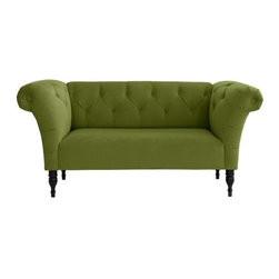 Tufted Roll Arm Chaise, Apple Green Velvet - This well-priced little sofa could give you the feeling of the one in Mary McDonald's living room, but without being a literal copy.